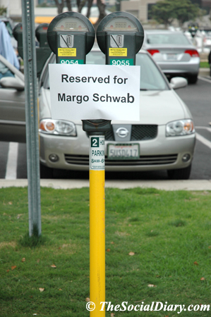 reserved parking space for Margo Schwab and The Social Diary