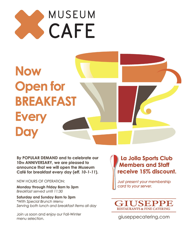 giuseppe's museum cafe now open for breakfast m-f 8 am