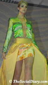 cut away skirt over trousers on runway model