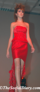 lacy long red dress on model